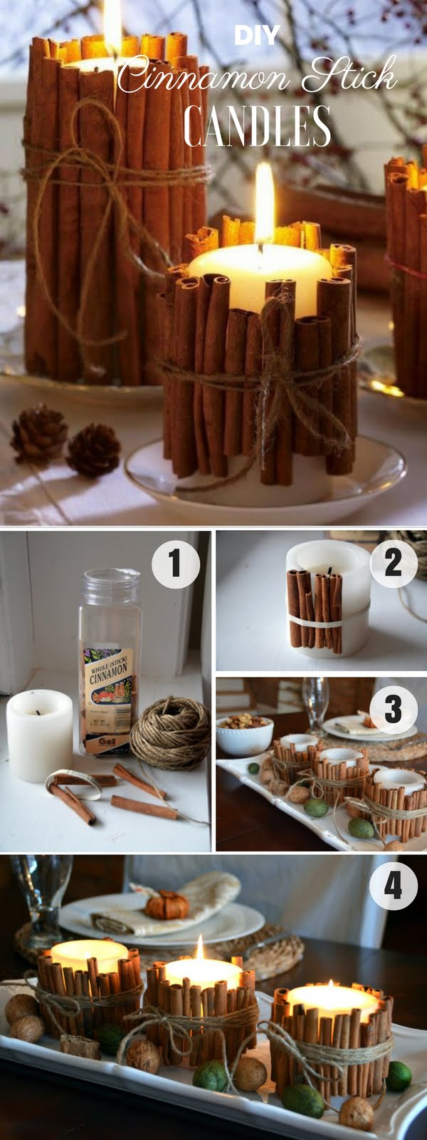 Easy to make DIY Cinnamon Stick Candles for fall decor