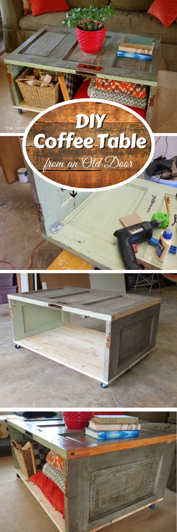 Check out how to build a DIY coffee table from an old door