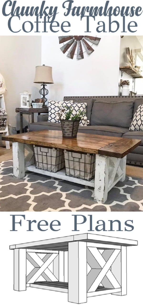 Check out the tutorial on how to make a #DIY chunky #farmhouse coffee table. Looks easy enough! #HomeDecorIdeas