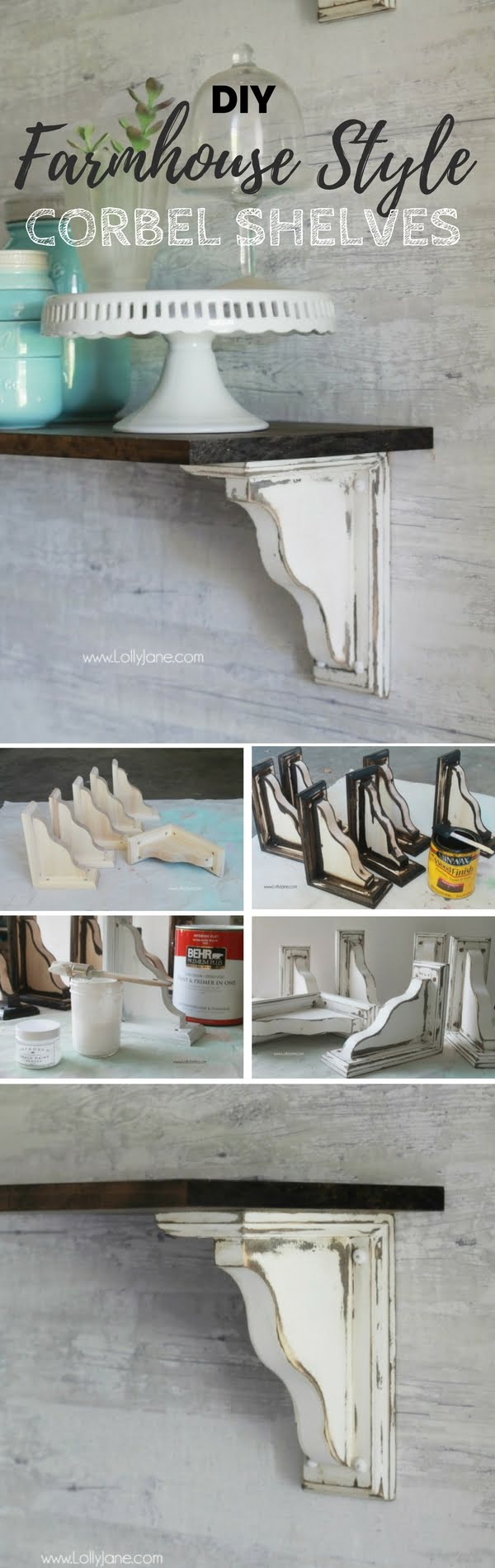 Check out the tutorial:  Farmhouse Style Corbel Shelves