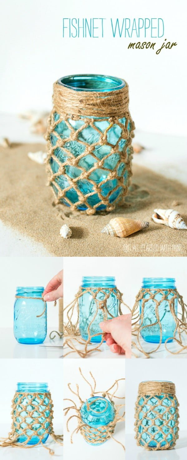 Fishnet Wrapped Jar