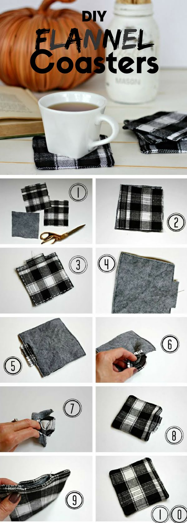 Check out how to make these easy DIY Flannel Coasters