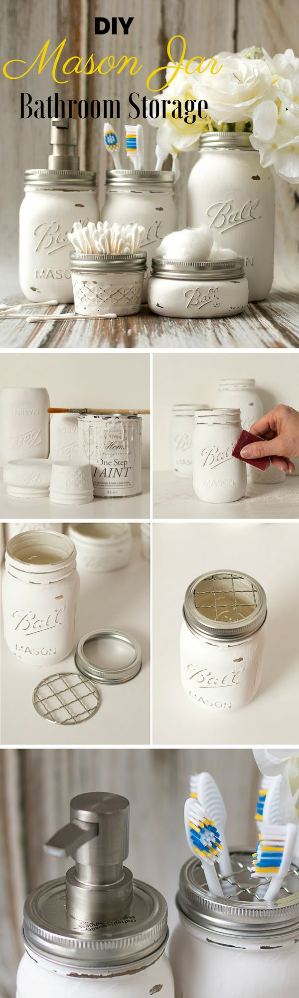 How to make  Mason Jar Bathroom Storage