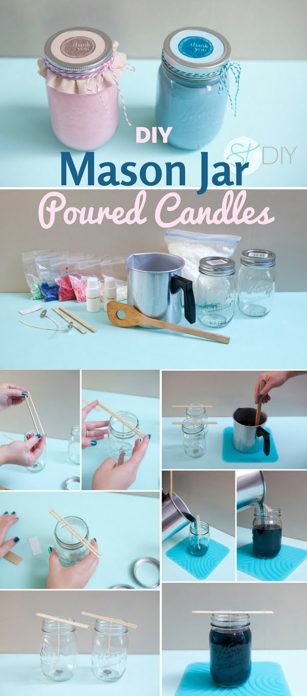 How to make  M ason Jar Poured Candles