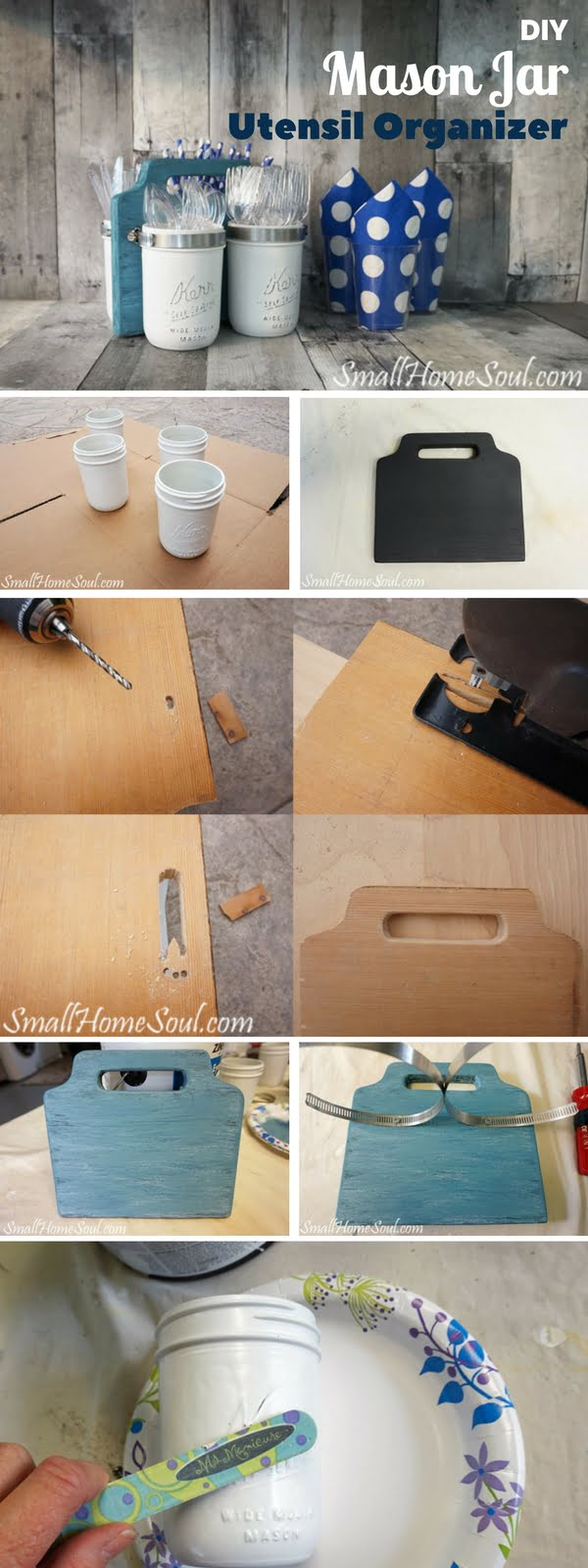 How to make  Mason Jar Utensil Organizer