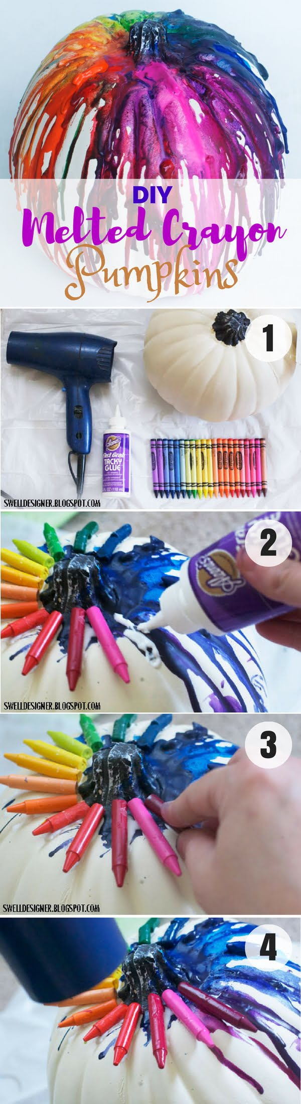 Easy to make stunning DIY Melted Crayon Pumpkins