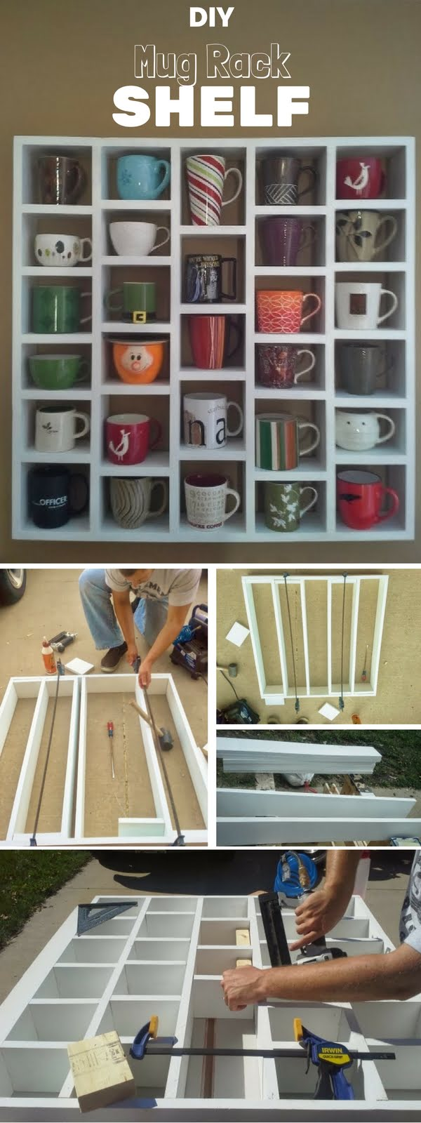 Check out the tutorial:  Mug Rack Shelf