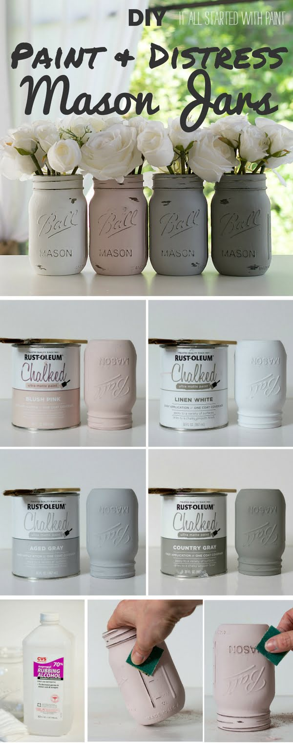 How to make #DIY Paint and Distress Mason Jars