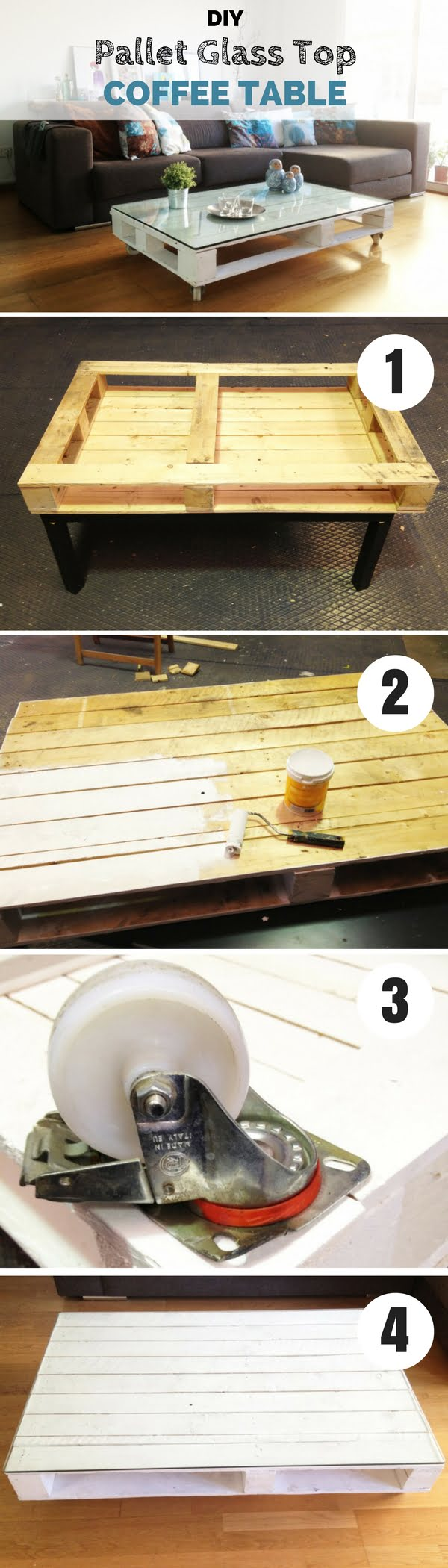 Check out how to make this easy DIY Pallet Glass Top Coffee Table