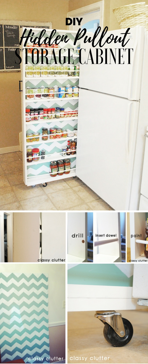 Check out the tutorial: #DIY Hidden Pullout Storage Cabinet