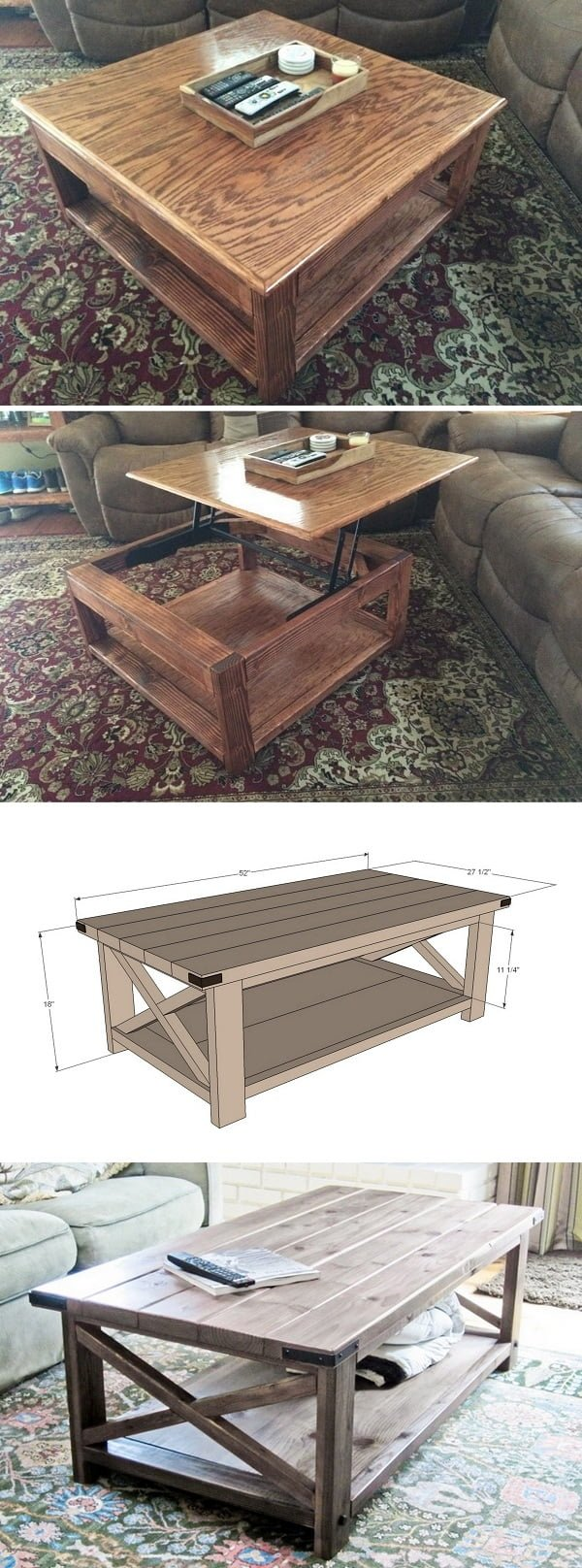 Check out the tutorial on how to build a #DIY #rustic lift top coffee table #homedecor