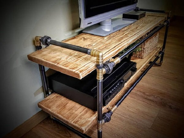 Rustic Piping Media Console