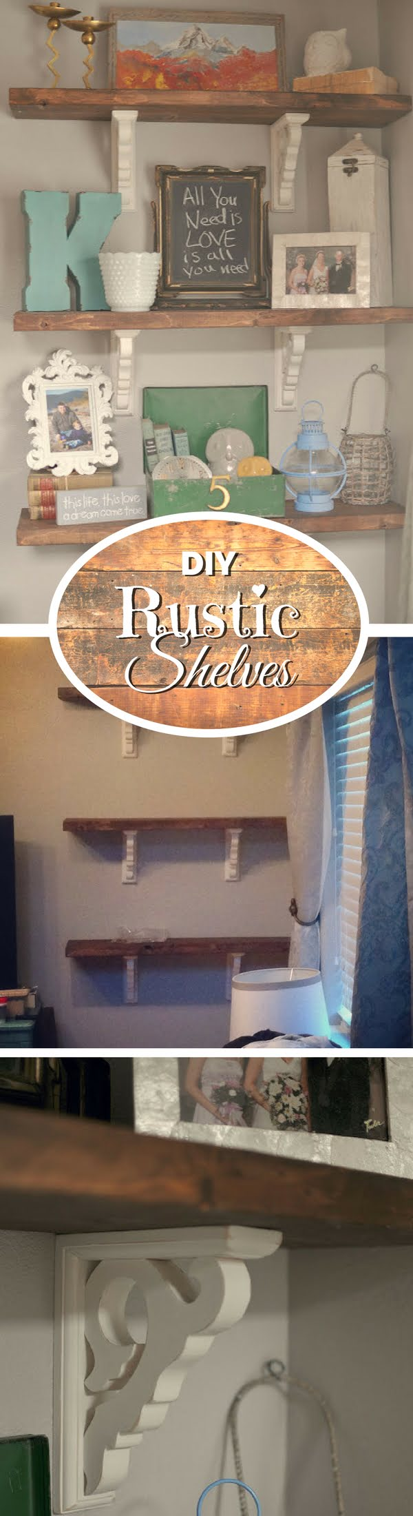 Check out how to make easy DIY rustic shelves