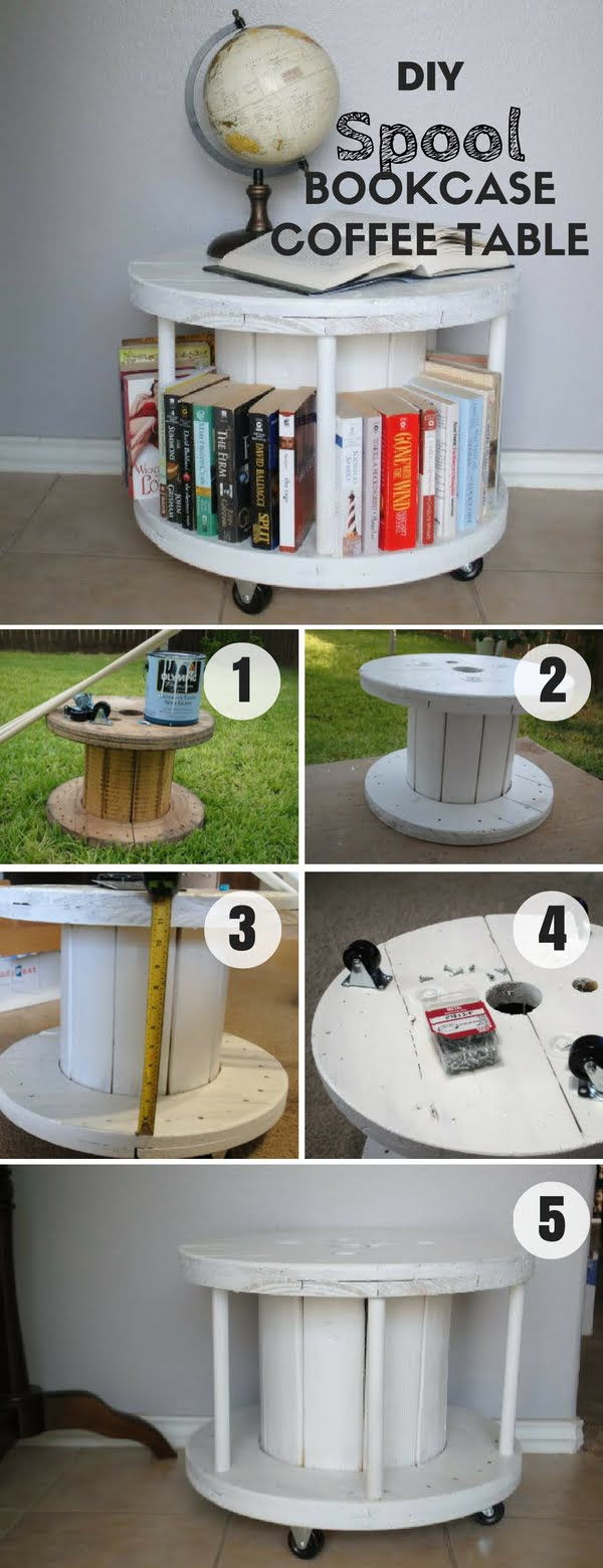 Check out how easy it is to build this DIY Spool Bookcase Coffee Table