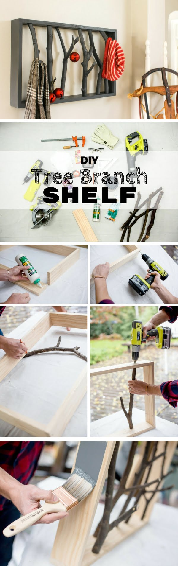 Check out the tutorial:  Tree Branch Shelf