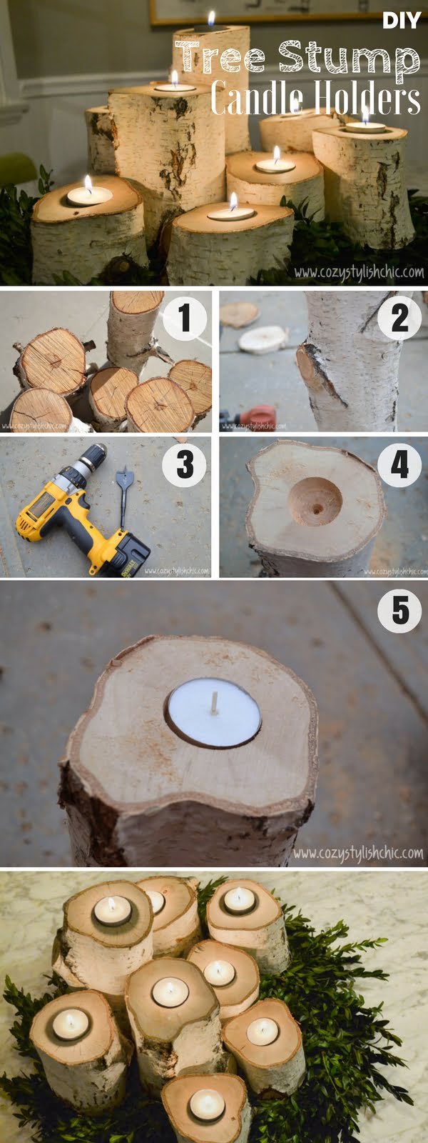 Brilliant rustic easy to make DIY Tree Stump Candle Holders for fall decor