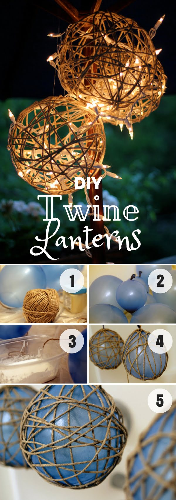 Easy to make DIY Twine Lanterns for fall home decor