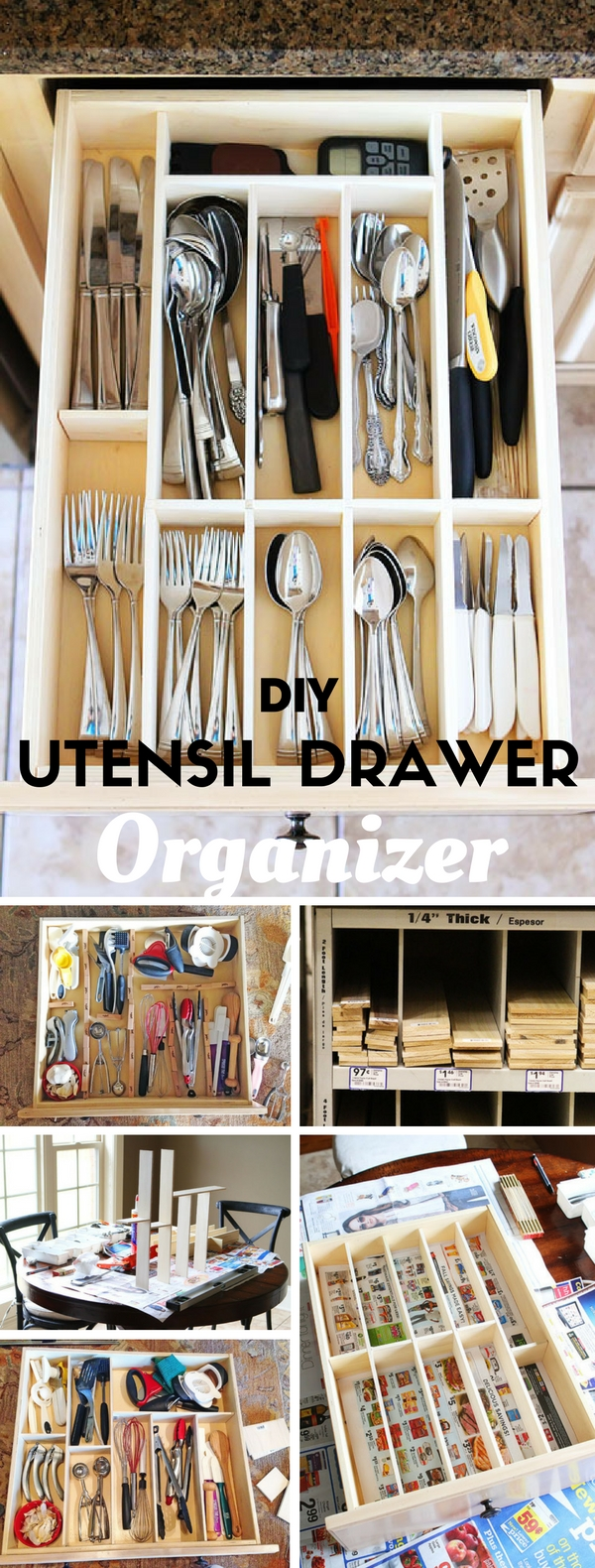 Check out the tutorial: #DIY Kiychen Utensil- Drawer Organizer