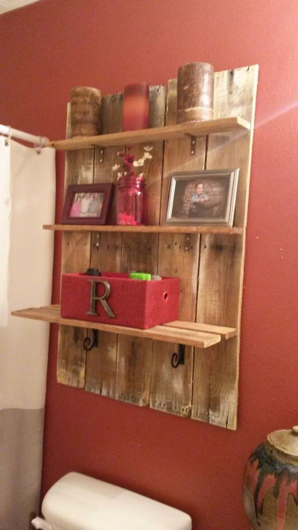 Pallet Wood Shelf over the toilet for rustic bathroom decor
