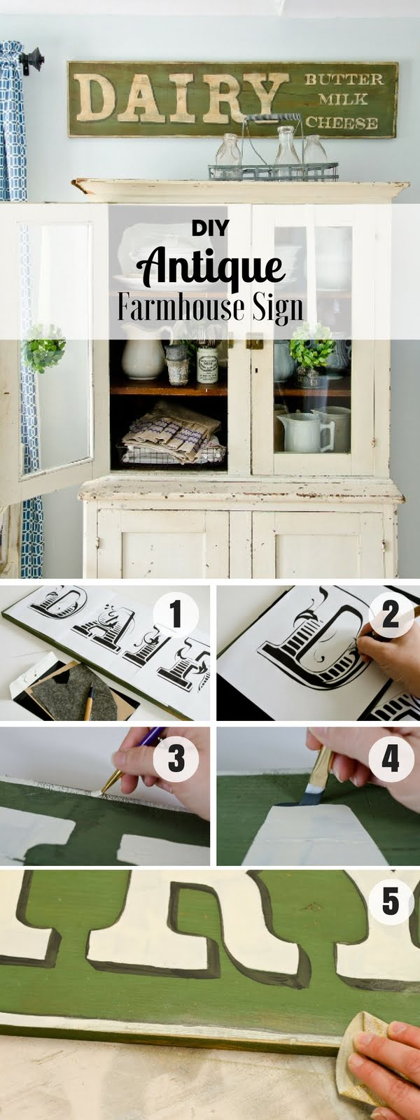 Check out how to make an easy DIY Antique Farmhouse Sign for kitchen decor