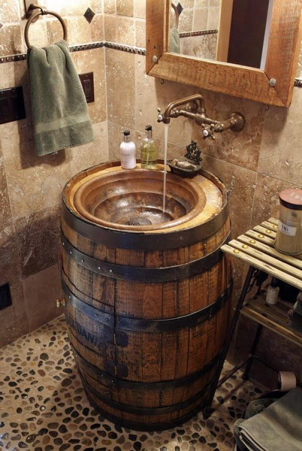 Barrel sink for rustic bathroom decor