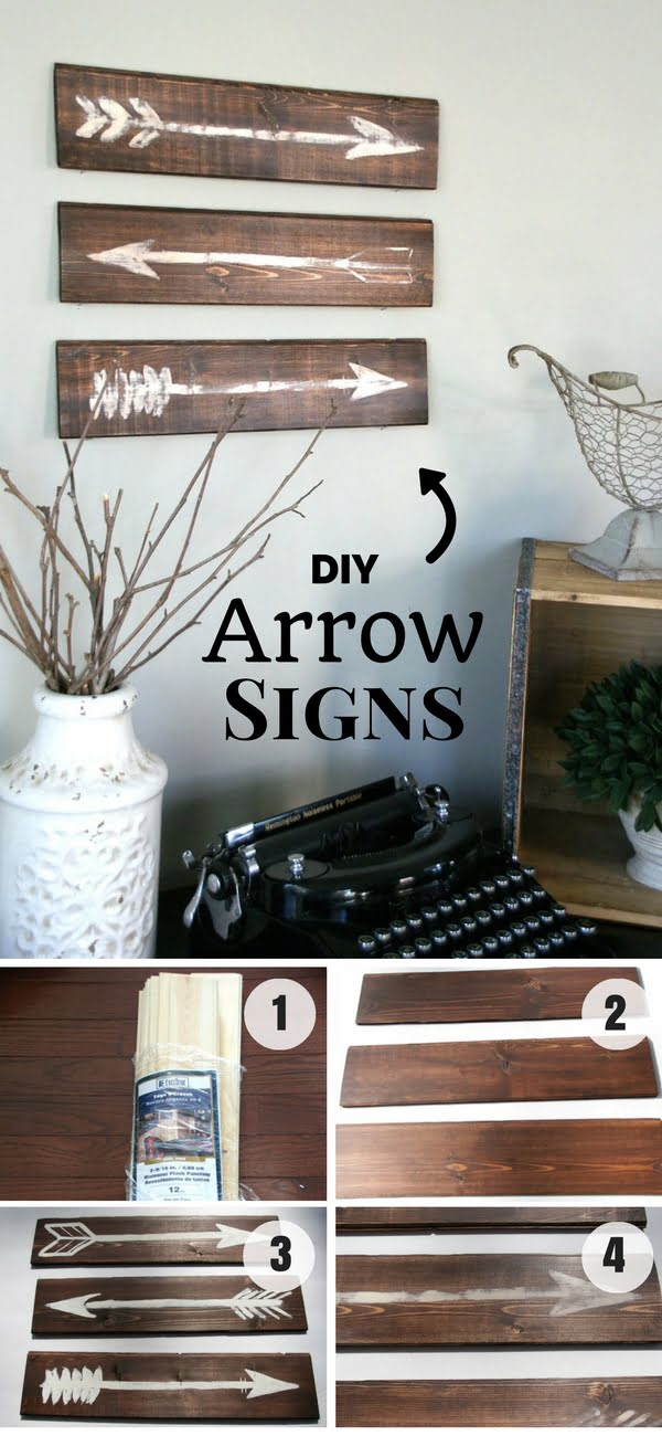 Check out how to make easy DIY farmhouse style Arrow Signs