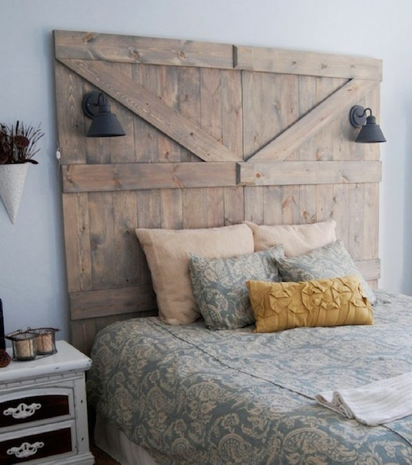 repurposed barn door DIY Headboard