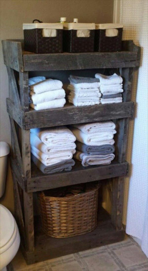 pallet wood bathroom organizer for rustic bathroom decor