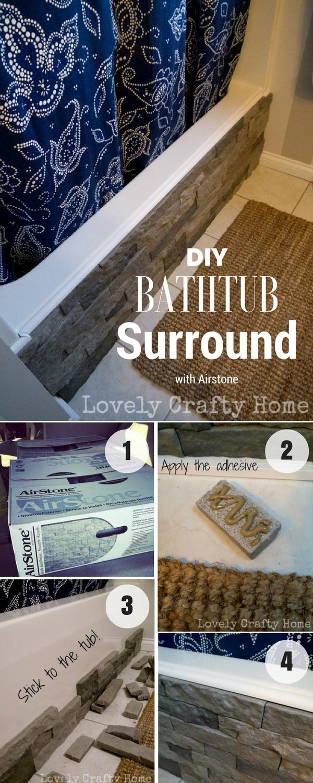 #DIY Bathrub Surround with Airstone for rustic bathroom decor #bathroomdecor