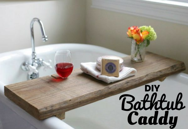 Bathtub Caddy for rustic bathroom decor