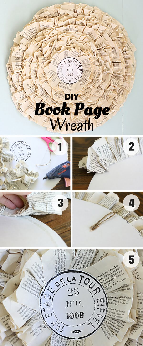 Check out how to make an easy shabby chic DIY Book Page Wreath