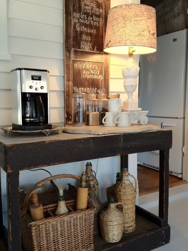 15 Simple DIY Ideas to Make the Best Coffee Station at Home - Love the idea of a coffee station in an unexpected place
