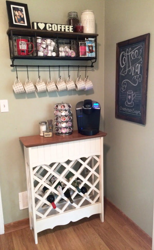 15 Simple DIY Ideas to Make the Best Coffee Station at Home - Love the idea of a DIY wine rack Coffee Station
