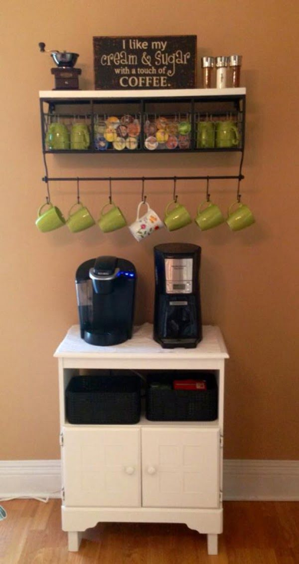 15 Simple DIY Ideas to Make the Best Coffee Station at Home - What a great idea for a DIY coffee station with a mug rack shelf
