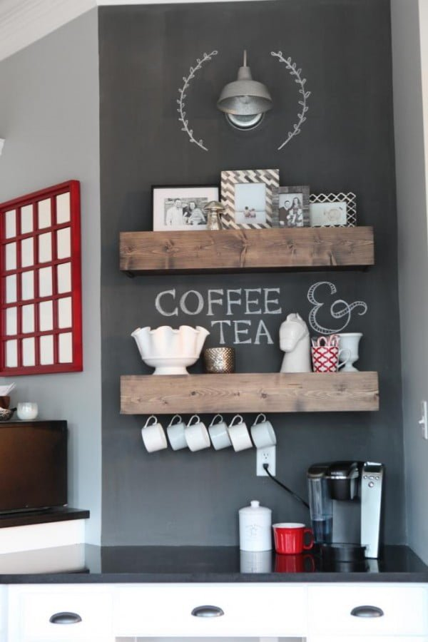 15 Simple DIY Ideas to Make the Best Coffee Station at Home - What a brilliant idea for DIY rustic shelves for a coffee station