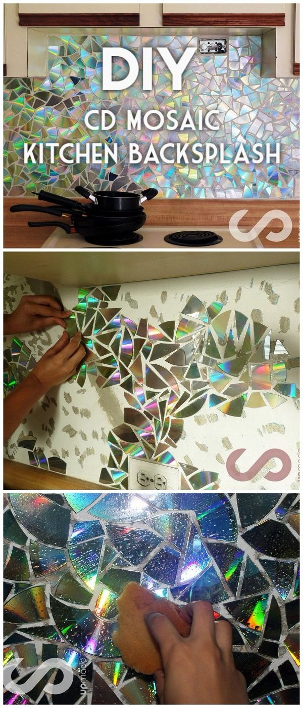 30 Stunning DIY Mosaic Craft Projects for Easy Home Decor - Check out this easy tutorial on how to make a #DIY mosaic CD kitchen backsplash. Love it! #HomeDecorIdeas