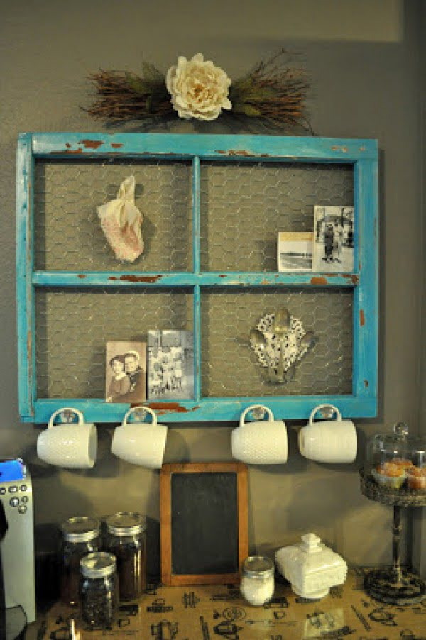 15 Simple DIY Ideas to Make the Best Coffee Station at Home - Love the idea for a DIY Coffee Station made of a repurposed window frame