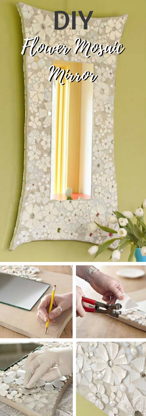 30 Stunning DIY Mosaic Craft Projects for Easy Home Decor - Check out this easy idea on how to make a #DIY flower mosaic mirror frame for #homedecor on a #budget #crafts #project