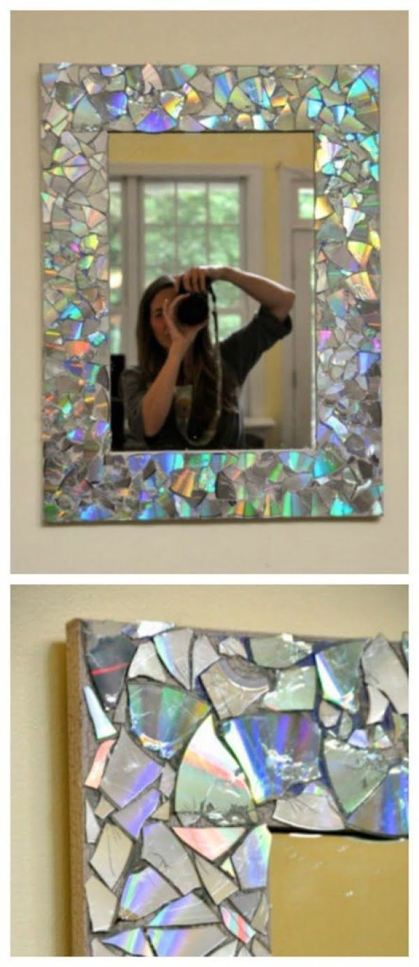 30 Stunning DIY Mosaic Craft Projects for Easy Home Decor - Make an easy DIY mosaic mirror frame from CD shards
