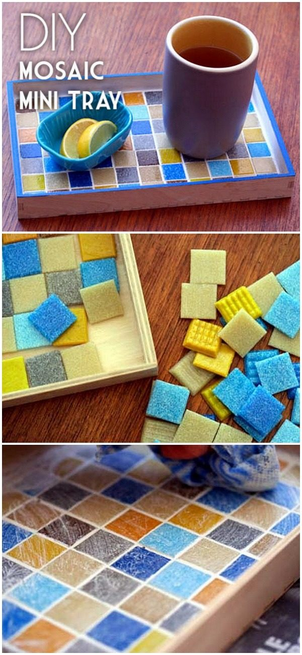 30 Stunning DIY Mosaic Craft Projects for Easy Home Decor - Check out this easy tutorial on how to make a #DIY mosaic mini tray. Love it! #HomeDecorIdeas