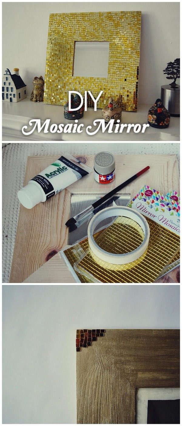 30 Stunning DIY Mosaic Craft Projects for Easy Home Decor - Check out this easy tutorial on how to make a #DIY mosaic mirror frame. Love it! #HomeDecorIdeas