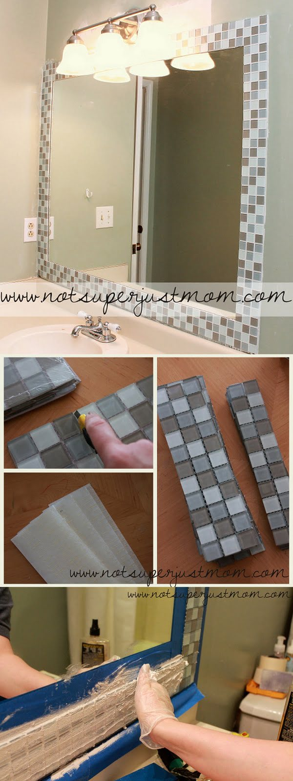 30 Stunning DIY Mosaic Craft Projects for Easy Home Decor - Check out this easy idea on how to make a #DIY mosaic mirror frame for #bathroom #homedecor on a #budget #project