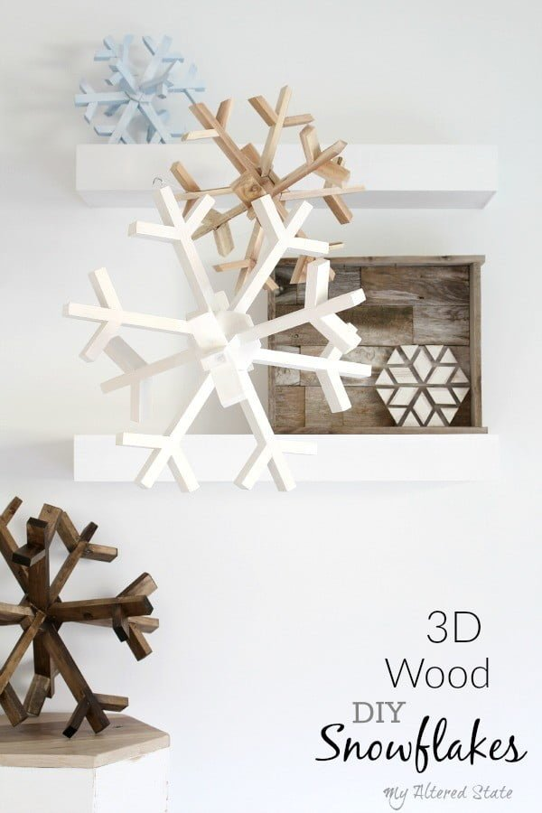 Check out how to make a DIY 3D Wood Snowflake