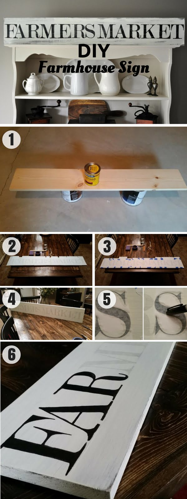 """Check out how to make an easy DIY Farmhouse """"Farmers Market"""" Sign for kitchen decor"""
