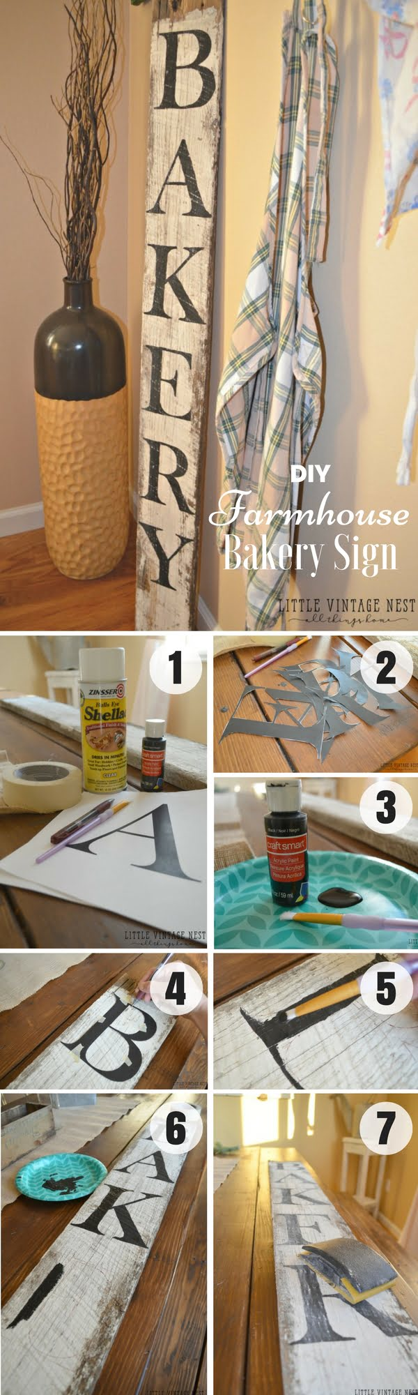 17 Fab DIY Farmhouse Signs You Can Make Yourself - Check out how to make an easy DIY Farmhouse Bakery Sign for kitchen decor