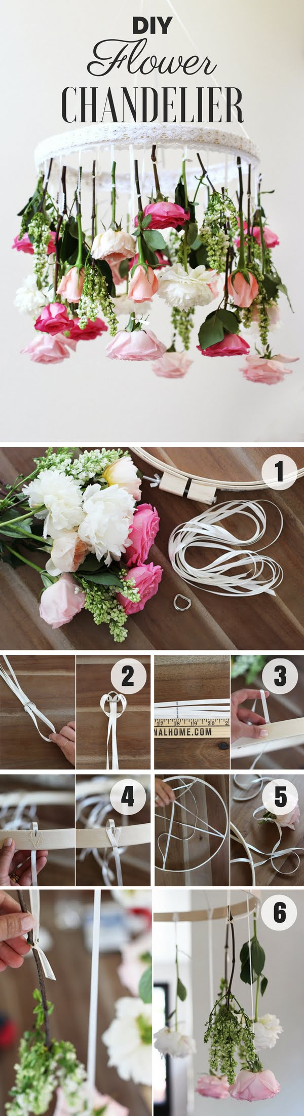 Check out how to make an easy shabby chic DIY Fflower Chandelier