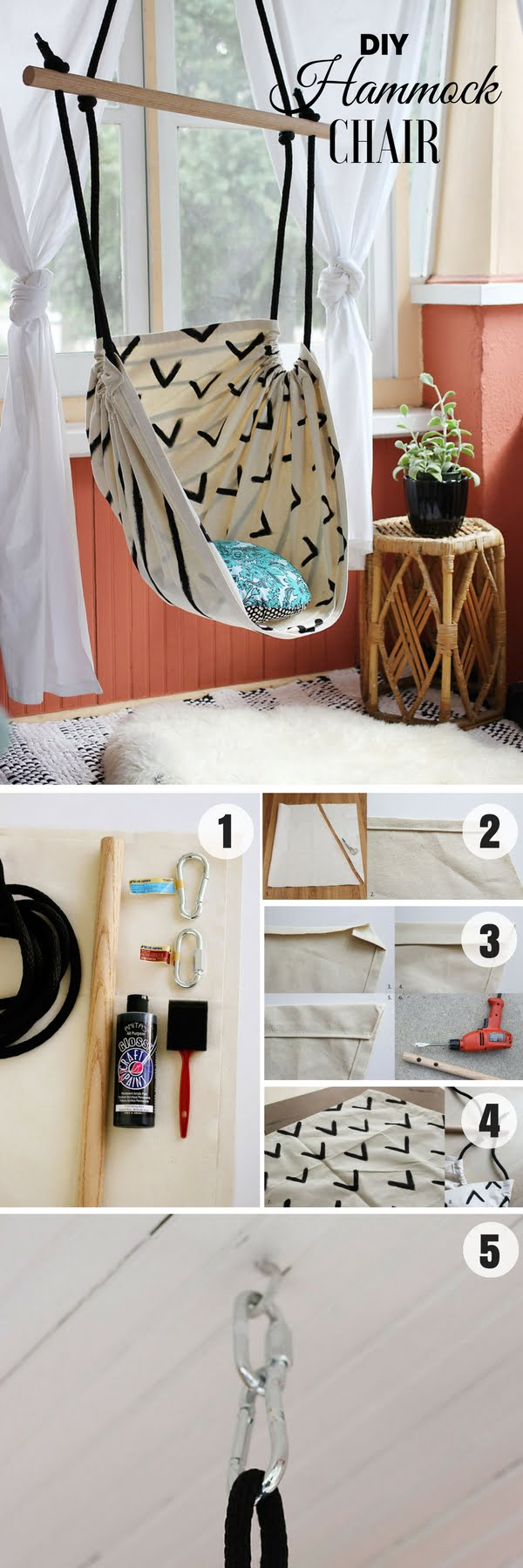 16 Beautiful DIY Bedroom Decor Ideas That Will Inspire You - Check out how to make an easy DIY Hammock Chair for bedroom decor