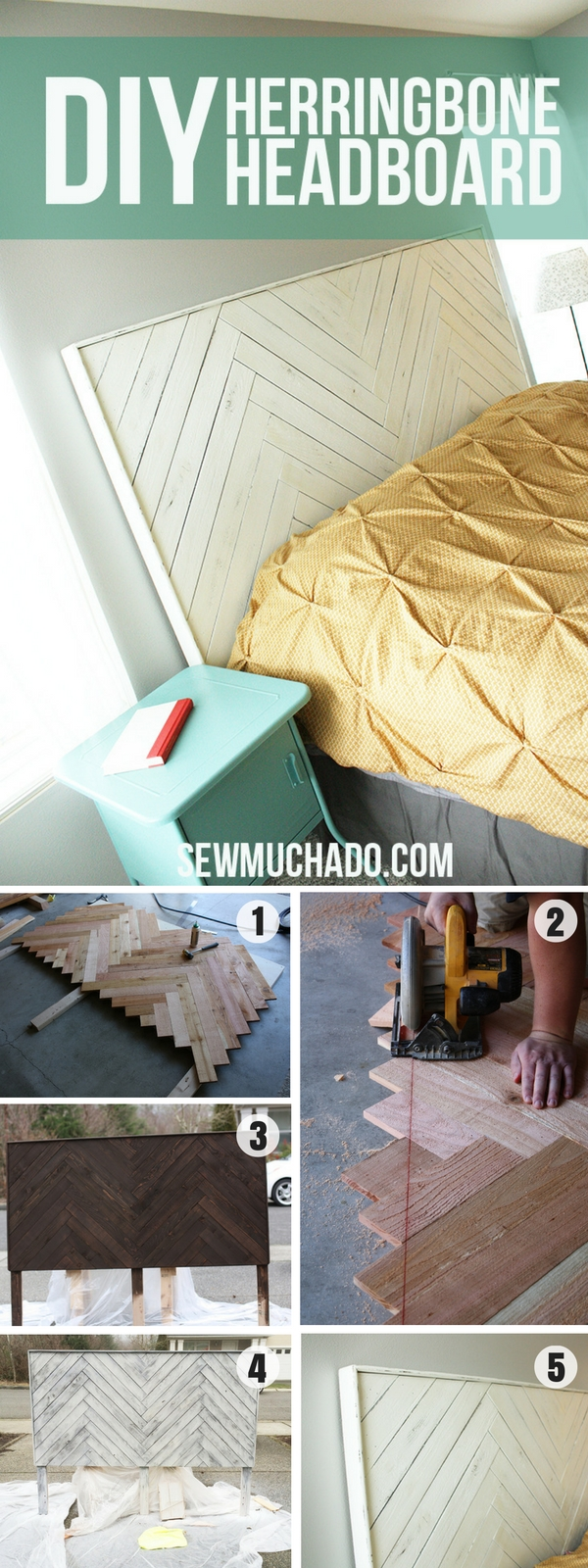 Check out how to make this easy DIY Herringbone Headboard