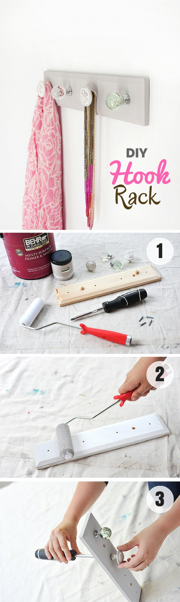 16 Beautiful DIY Bedroom Decor Ideas That Will Inspire You - Check out how to make an easy DIY Hook Rack for stylish bedroom decor