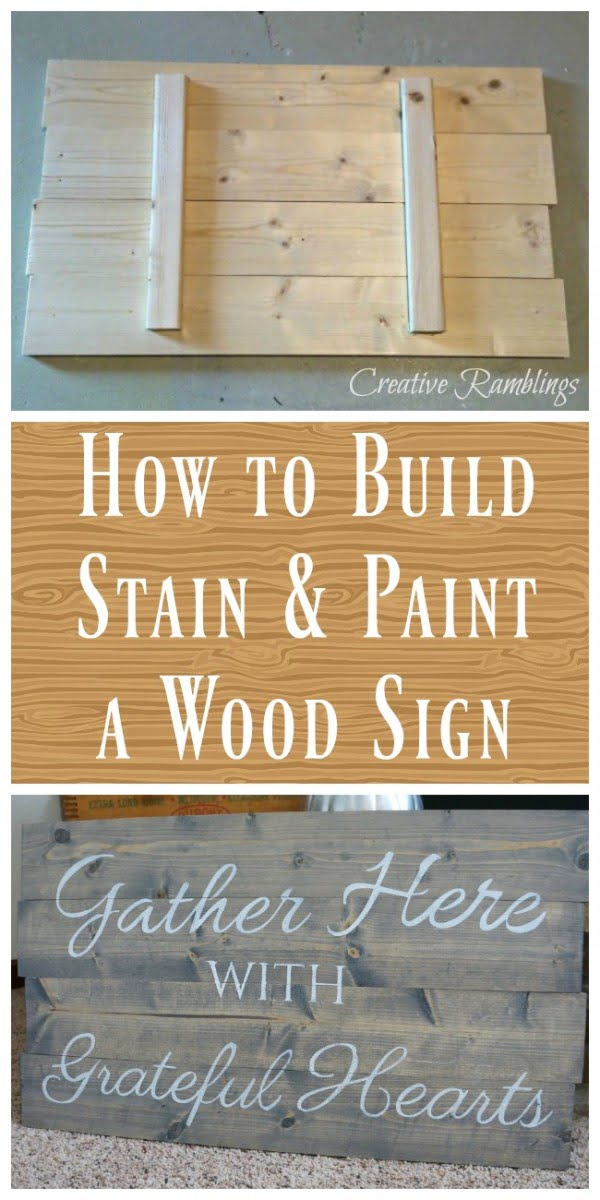 Check out how to make an easy DIY stained wood farmhouse sign